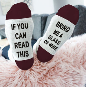 """If You can read this Bring Me a Glass of Wine"" Funny Socks[Variant_title] - FlaskMasters"