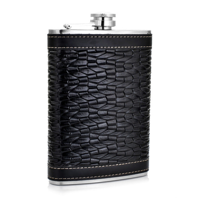 Black Crocodile Pattern Leather Wrapped Flask (9 Oz.)[Variant_title] - FlaskMasters