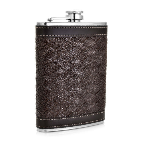 Dark Brown Diamond Pattern Leather Wrapped Flask (9 Oz.)[Variant_title] - FlaskMasters