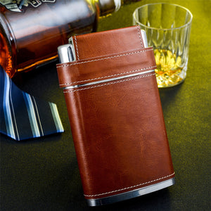 Leather Wrapped Flask with Portable Shot Cups (8 Oz.)[Variant_title] - FlaskMasters