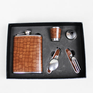 Leather Wrapped Flask Gift Set for Travel (with Shot Cup, Spoon, and Fork) (8 Oz.)[Variant_title] - FlaskMasters