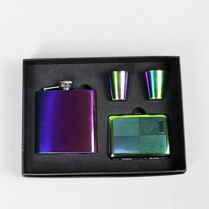 Iridescent Rainbow Flask Gift Set with Shot Cups and Cigarette Case (6 Oz.)[Variant_title] - FlaskMasters