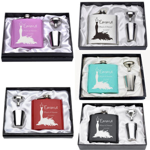 """The Dress"" Bridesmaid Flask Gift Set with Shot Cups (6 Oz.)[Variant_title] - FlaskMasters"