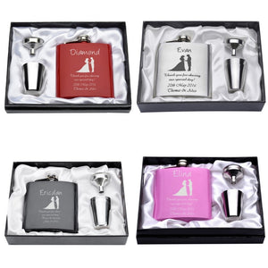"""Here Comes the Bride"" Bridesmaid Flask Gift Set with Shot Cups (6 Oz.)[Variant_title] - FlaskMasters"