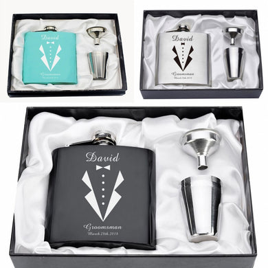 Custom Engraved Tuxedo Groomsmen / Bachelor Party Flask Gift Set with Shot Cups (6 Oz.)[Variant_title] - FlaskMasters