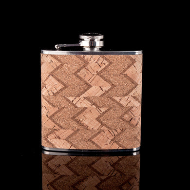 Wood Wrapped Light Chevron Pattern Flask (6 Oz.)[Variant_title] - FlaskMasters