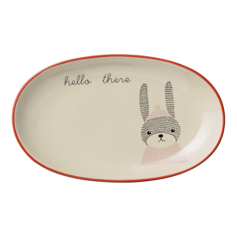 Mollie Plate Stoneware, White - Frenchbazaar -Bloomingville