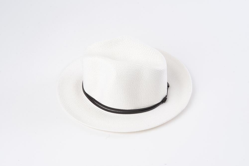White - Borsalino with leather strap - Frenchbazaar -Travaux en cours