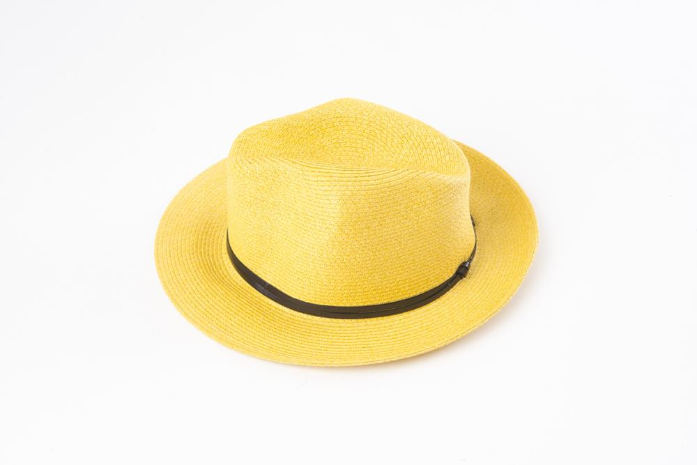 Yellow - Borsalino with leather strap - Frenchbazaar -Travaux en cours
