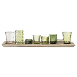 Votive Glass, Green Set of 9