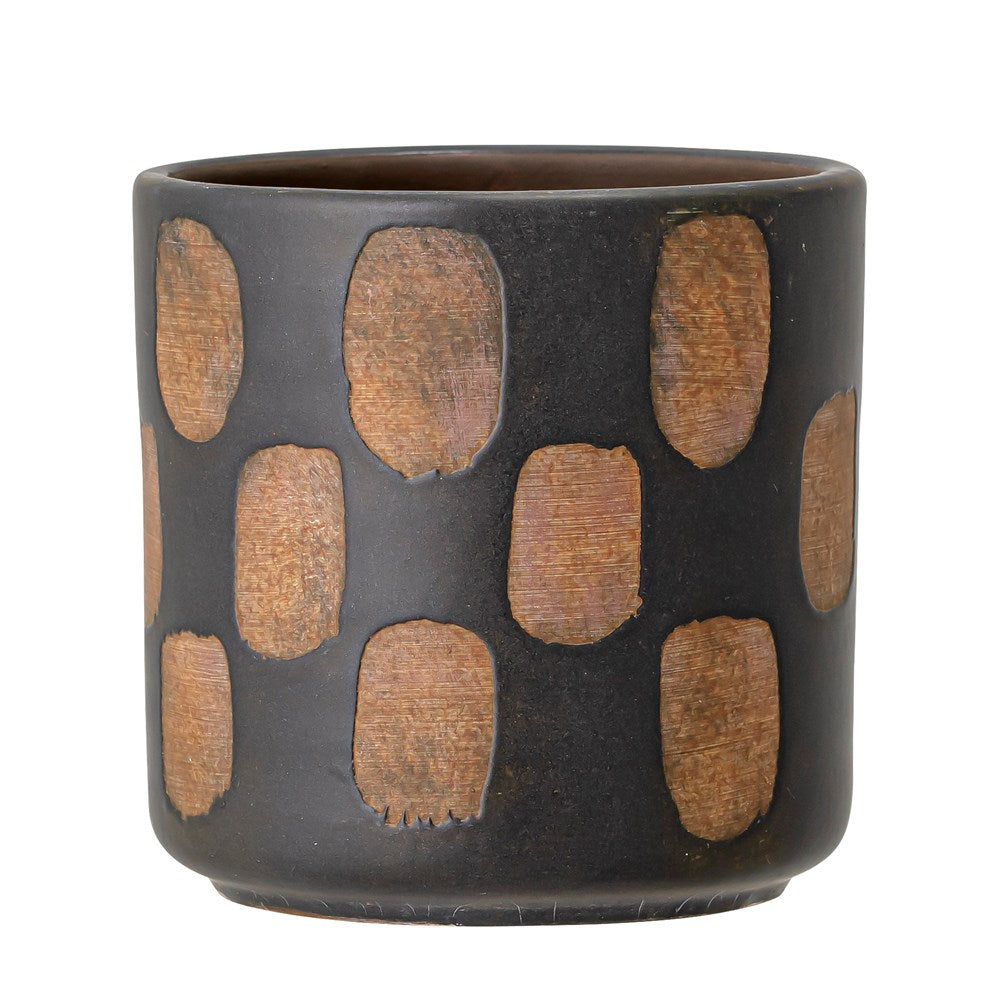Deco Flowerpot, Black, Terracotta