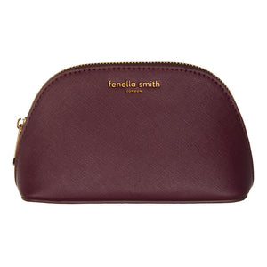 FENELLA SMITH- Burgundy Vegan Leather Oyster Cosmetic Case - Frenchbazaar -Fenella Smith