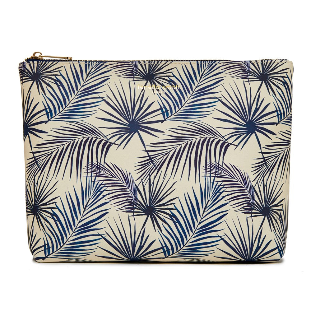 FENELLA SMITH- Blue Palm Vegan Leather Wash Bag - Frenchbazaar -Fenella Smith