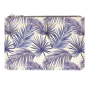 FENELLA SMITH- Blue Palm Vegan Leather Pouch - Frenchbazaar -Fenella Smith