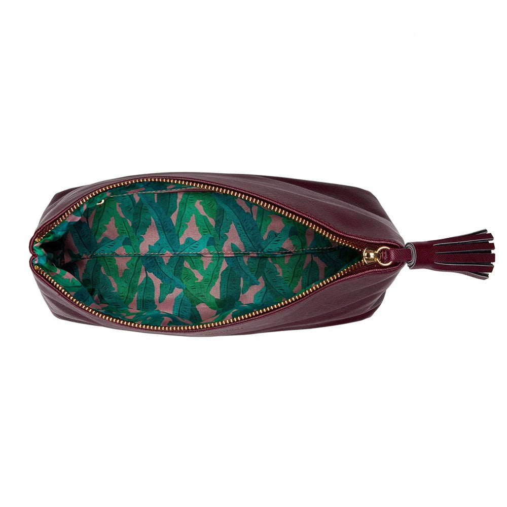 FENELLA SMITH- Burgundy Vegan Leather Wash Bag - Frenchbazaar -Fenella Smith