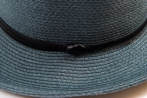 TRAVAUX EN COUTS -Borsalino hat leather strap Slate