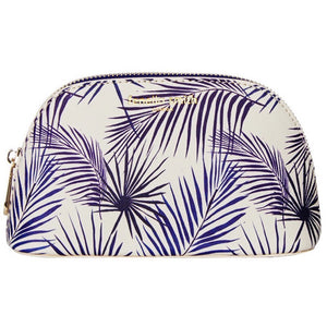 FENELLA SMITH- Blue Palm Vegan Leather Oyster Cosmetic Case - Frenchbazaar -Fenella Smith