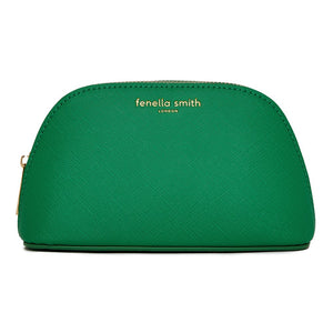 FENELLA SMITH- Green Vegan Leather Oyster Cosmetic Case - Frenchbazaar -Fenella Smith