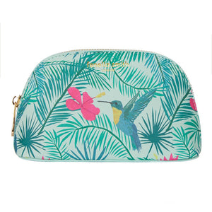 FENELLA SMITH- Hummingbird Vegan Leather Oyster Cosmetic Case - Frenchbazaar -Fenella Smith