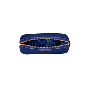 FENELLA SMITH- Blue Vegan Leather Oyster Cosmetic Case
