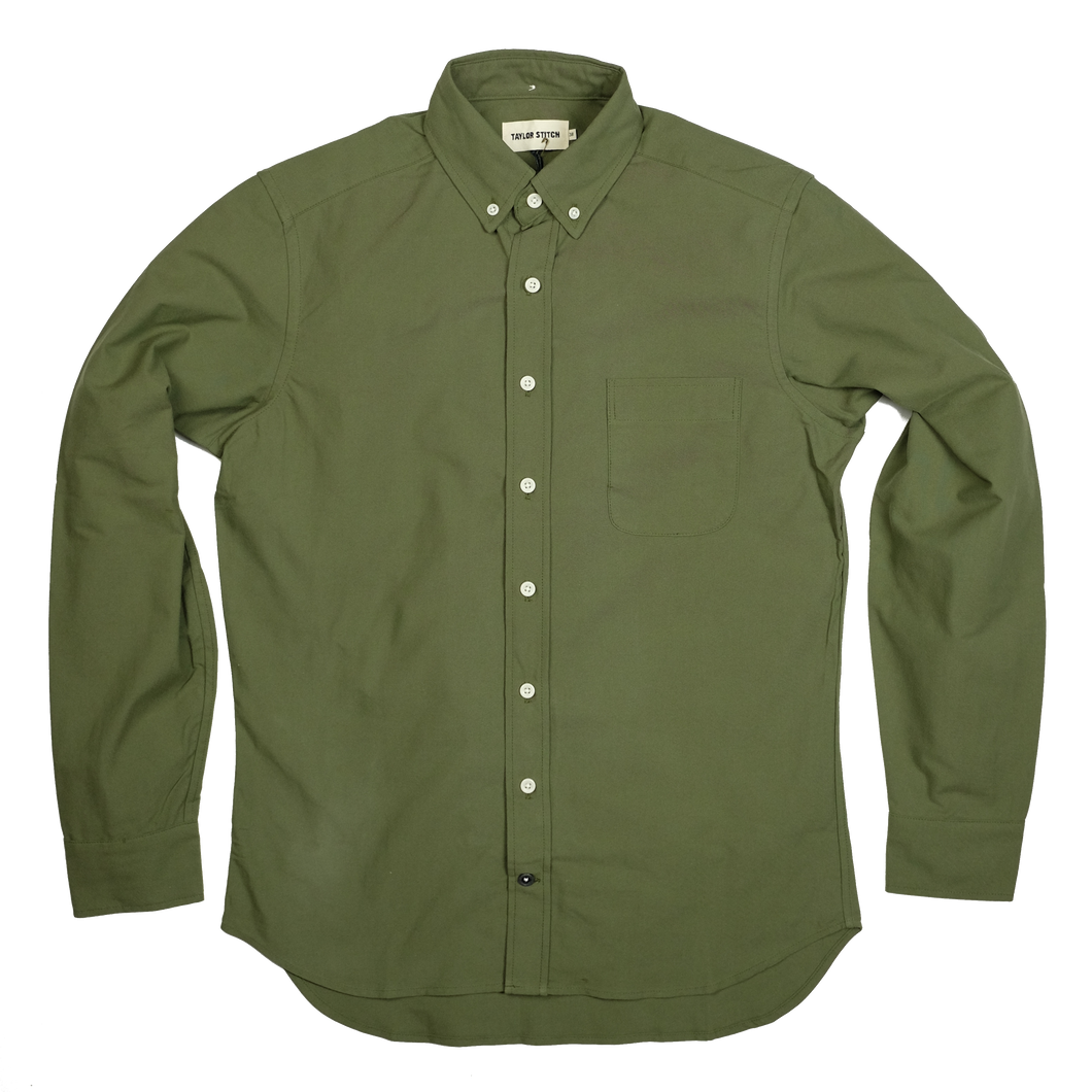 Taylor Stitch 'Jack' Oxford L/S Shirt - Army - Sunset Dry Goods