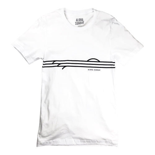 Aloha Sunday View Tee - White - Sunset Dry Goods
