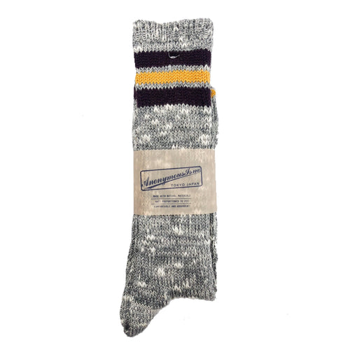 Anonymous Ism 3 Line Slub High Socks - Grey/Yellow - Sunset Dry Goods