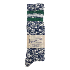 Anonymous Ism 3 Line Slub High Socks - Navy/Green - Sunset Dry Goods & Men's Supply PH