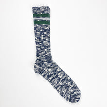 Anonymous Ism 3 Line Slub High Socks - Navy/Green - Sunset Dry Goods