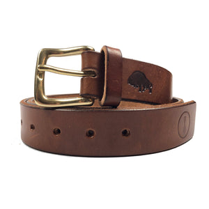 Ezra Arthur x American Trench Leather Belt - Buck Brown - Sunset Dry Goods