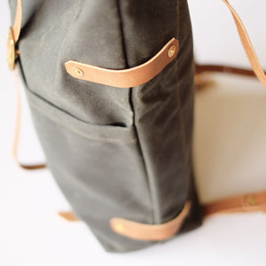 Fieldwork Co. 'Hudson Bay' Waxed Canvas Backpack - Forest Green - Sunset Dry Goods
