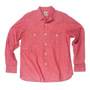 FOB Factory 'F3378' 6.5oz Selvedge Chambray Work Shirt - Red - Sunset Dry Goods