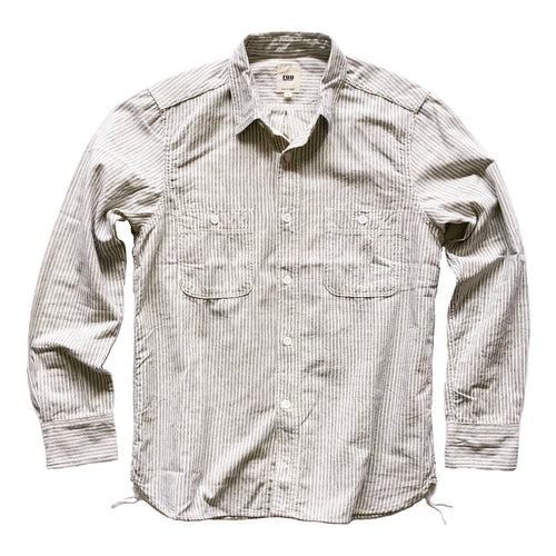 FOB Factory Indigo Rope Hickory Stripe L/S Work Shirt - White - Sunset Dry Goods & Men's Supply PH