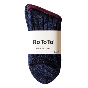 RoToTo Eco Low Guage Slub Socks - Dark Denim