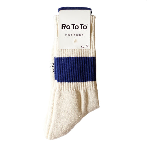 RoToTo Classic Sport 1-Stripe Crew Socks -  Ivory/Blue - Sunset Dry Goods
