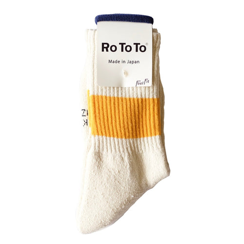 RoToTo Classic Sport 1-Stripe Crew Socks - Ivory/Yellow - Sunset Dry Goods