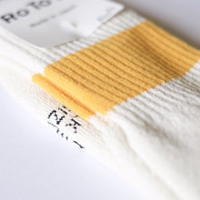RoToTo Classic Sport 1-Stripe Crew Socks - Ivory/Yellow - Sunset Dry Goods & Men's Supply PH