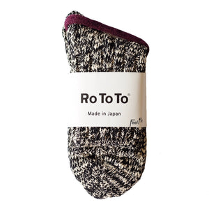 RoToTo Eco Low Guage Slub Socks - Black - Sunset Dry Goods