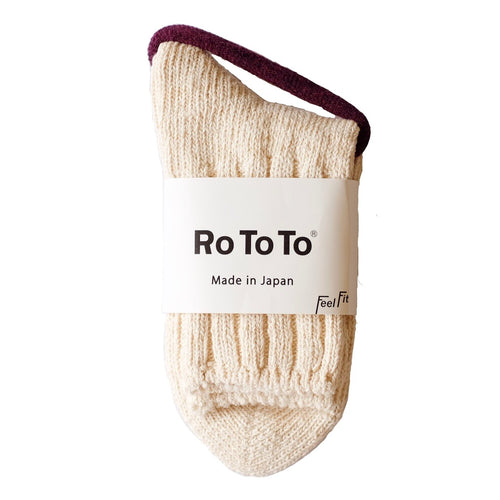 RoToTo Eco Low Guage Slub Socks - Ecru - Sunset Dry Goods
