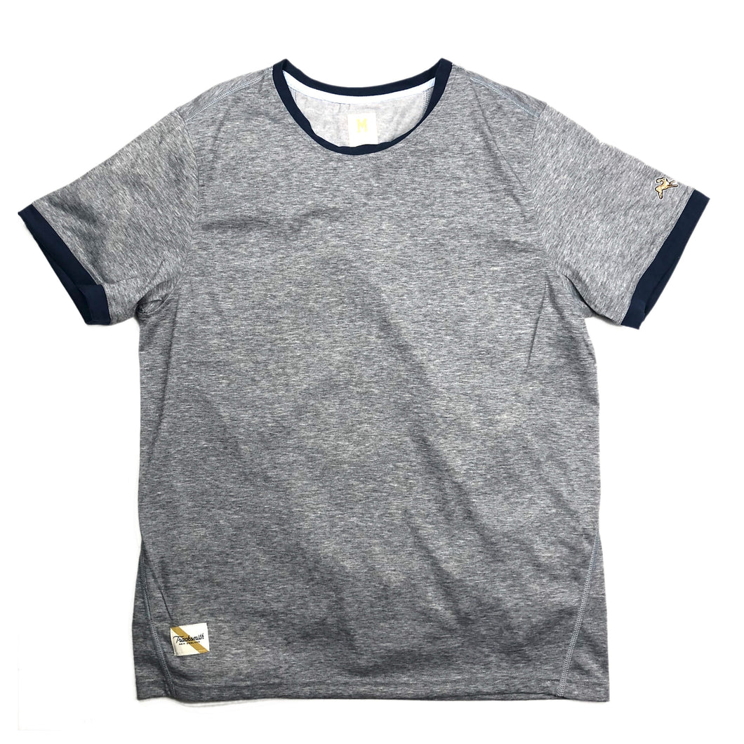 Tracksmith Towne Tee - Grey/Navy - Sunset Dry Goods