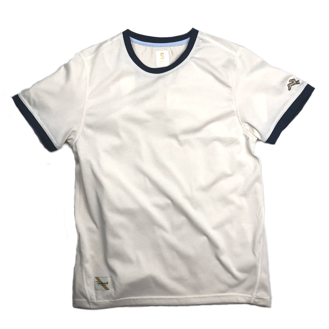 Tracksmith Towne Tee - Ivory/Navy - Sunset Dry Goods