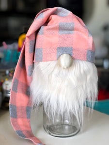 Peach Buffalo Plaid Gnome