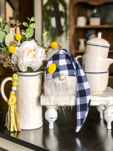 Navy Buffalo Plaid Lemon Gnome