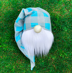 Blue Plaid Easter Basket Gnome