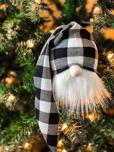 Set of 3 Buffalo Plaid Gnome Ornaments