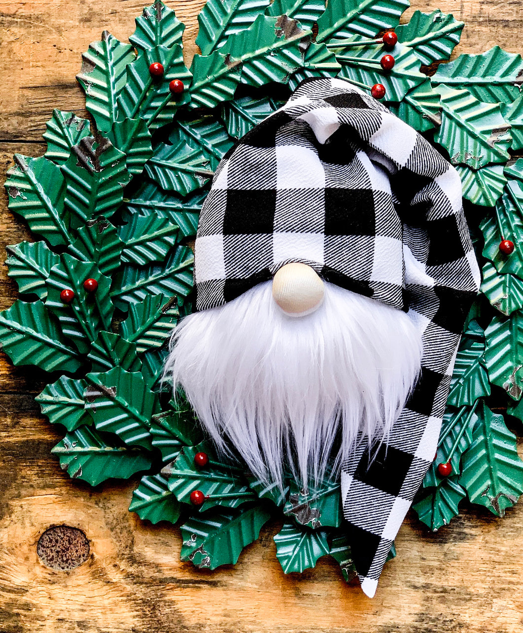 Black & White Buffalo Plaid Christmas Gnome