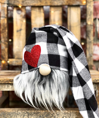 Red Heart Buffalo Plaid Valentines Gnome
