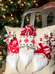 Three Little Christmas Gnomes Pillow