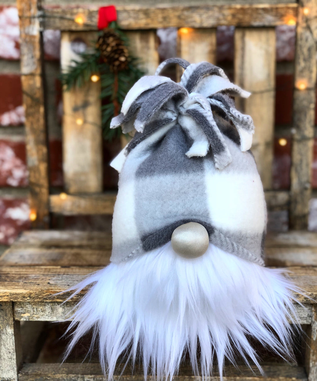 Grey & White Buffalo Snow Bunny Gnome