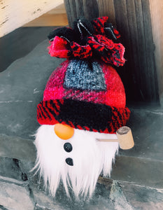 Red & Black Buffalo Plaid SnowMAN Gnome
